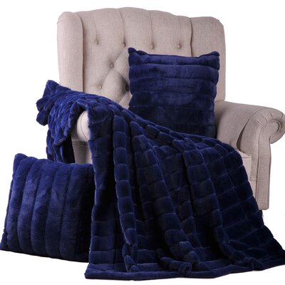Rabbit Jumbo Faux Fur 3 Piece Throw Set Color: Navy Blue