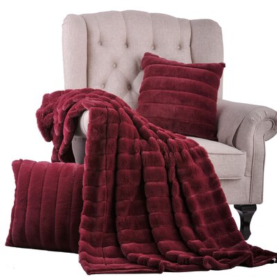 Grover 3 Piece Rabbit Fur Pillow and Throw Set Color: Burgundy