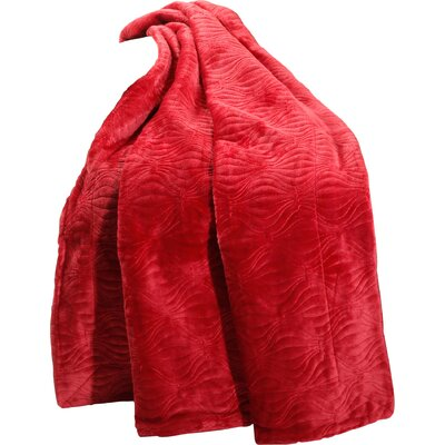 Quilted Flannel Fleece Throw Color: Burgundy