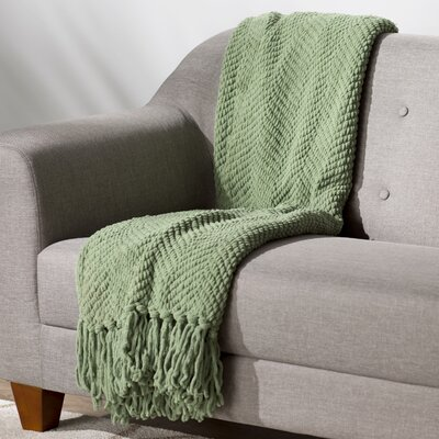 Sidon Tweed Knitted Throw Blanket Color: Green Eyes