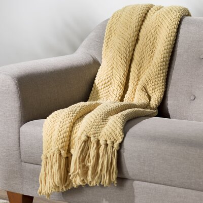 Nader Tweed Knitted Throw Blanket Color: Jojoba Yellow