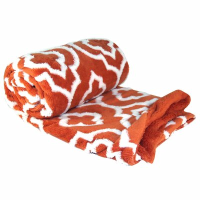 Jacquard Sherpa Throw Blanket Color: Burnt Orange