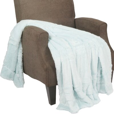 Guillaume Oversized Double Sided Faux Fur Throw Blanket Color: Light Blue