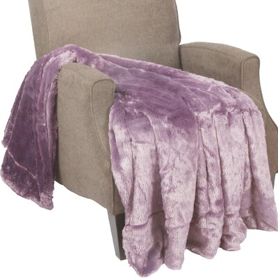 Guillaume Oversized Double Sided Faux Fur Throw Blanket Color: Purple