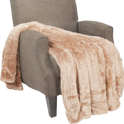 Guillaume Oversized Double Sided Faux Fur Throw Blanket Color: Amphora