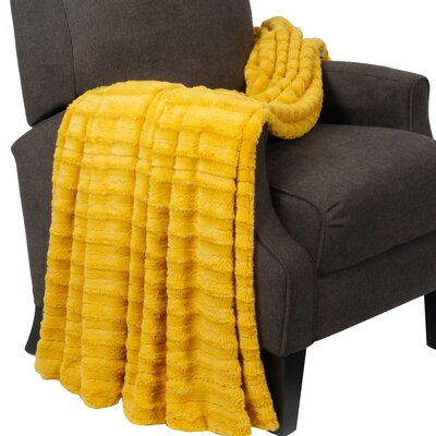 Derby Jumbo Over Sized Double Sided Throw Blanket Color: Lemon