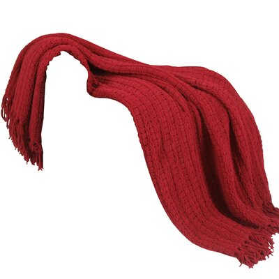 Space Yarn Knitted Throw Blanket Color: Burgundy