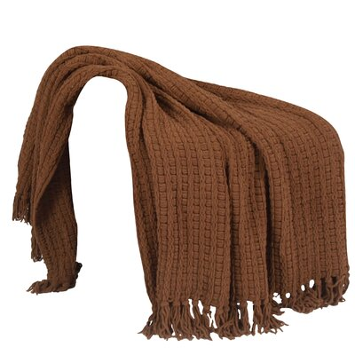 Space Yarn Knitted Throw Blanket Color: Chocolate