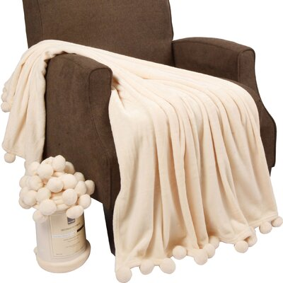 Flannel Fleece Pom Pom Throw Blanket Color: Antique White