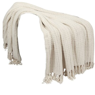 Space Yarn Knitted Throw Blanket Color: String