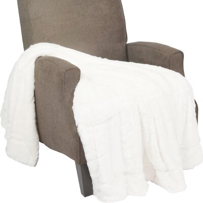 Oversized Double Sided Faux Fur Throw Blanket Color: Ivory