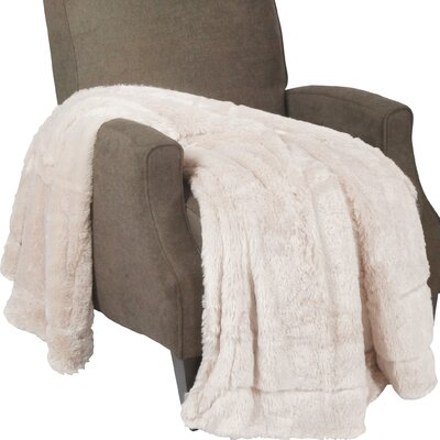 Oversized Double Sided Faux Fur Throw Blanket Color: Beige