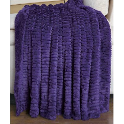 Air Brushed Colleen Faux Fur Throw Blanket Color: Purple