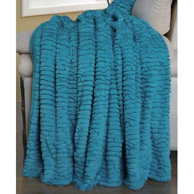 Air Brushed Colleen Faux Fur Throw Blanket Color: Baltic Blue