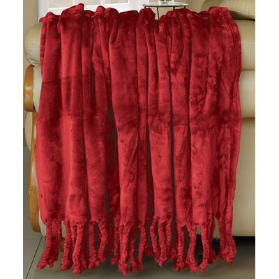 Flannel Fleece Braided Throw Color: Chilli Pepper