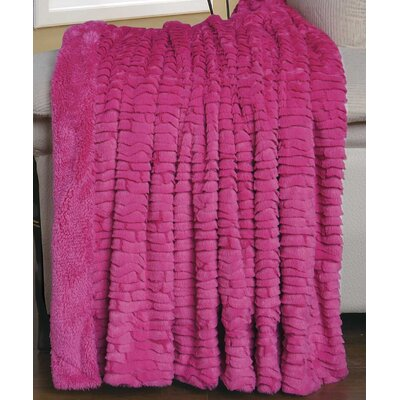 Air Brushed Colleen Faux Fur Throw Blanket Color: Aurora Pink