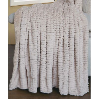 Air Brushed Colleen Faux Fur Throw Blanket Color: Beige