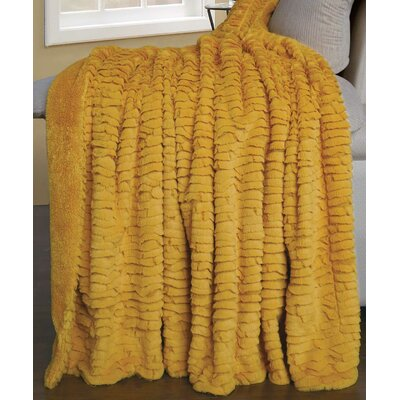 Air Brushed Colleen Faux Fur Throw Blanket Color: Lemon Curry Yellow