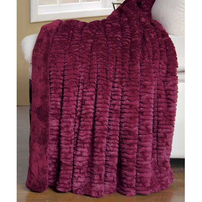 Air Brushed Colleen Faux Fur Throw Blanket Color: Burgundy