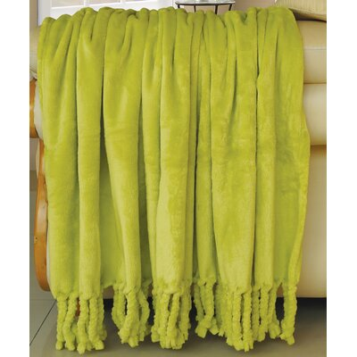 Flannel Fleece Braided Throw Color: Oasis Green