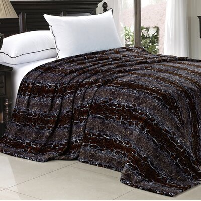 Safari Flannel Blanket Size: Queen, Color: Chocolate White