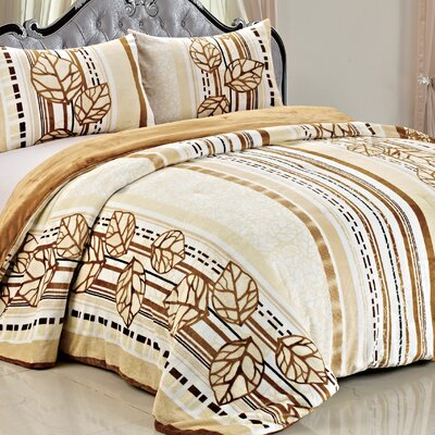 Double Flannel 3 Piece Leaves Blanket Set