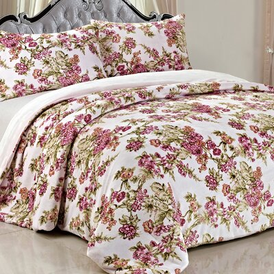 Double Flannel 3 Piece Flowers Blanket Set