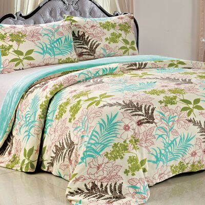 Double Flannel 3 Piece Leaves Blanket Set