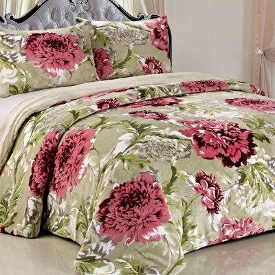 Double Flannel 3 Piece Blossom Flowers Blanket Set Color: Cardinal