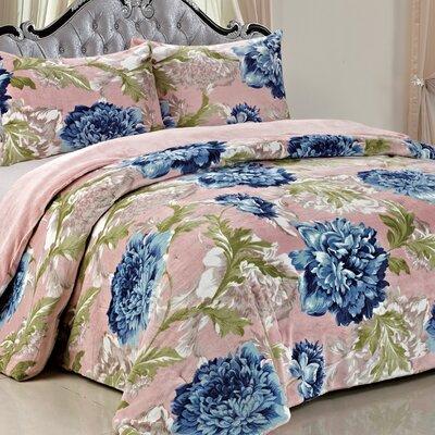 Double Flannel 3 Piece Blossom Flowers Blanket Set Color: Blue