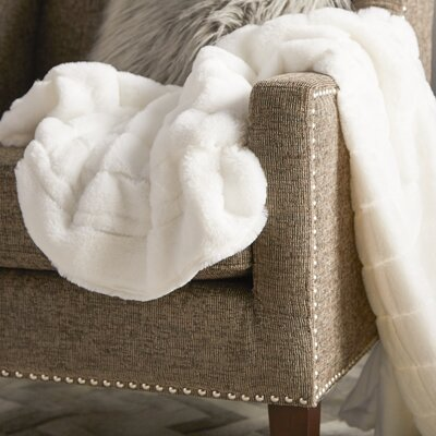 Grenville Rabbit Faux Fur Throw Color: Bright White