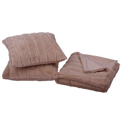 Grover 3 Piece Rabbit Fur Pillow and Throw Set Color: Oatmeal