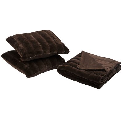 Grover 3 Piece Rabbit Fur Pillow and Throw Set Color: Carafe