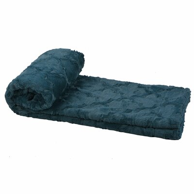 Millett Brushed Geometric Faux Fur Throw Color: Dark Teal