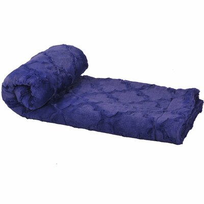 Millett Brushed Faux Fur Throw Color: Navy Blue