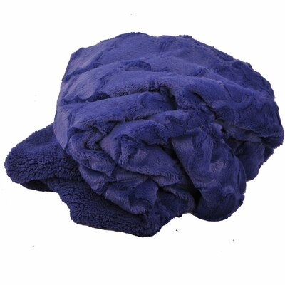 Millett Brushed Geometric Faux Fur Throw Color: Navy Blue