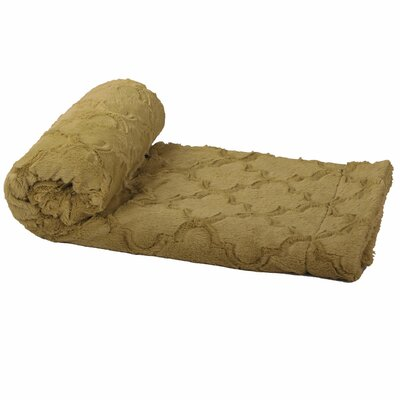 Millett Brushed Geometric Faux Fur Throw Color: Khaki