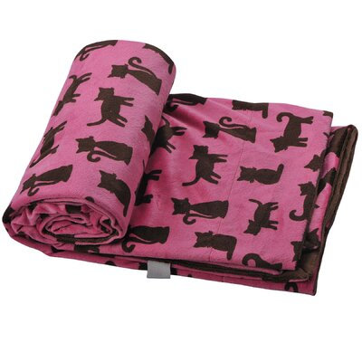 Claudette Cats Microplush Throw Color: Chocolate/Pink