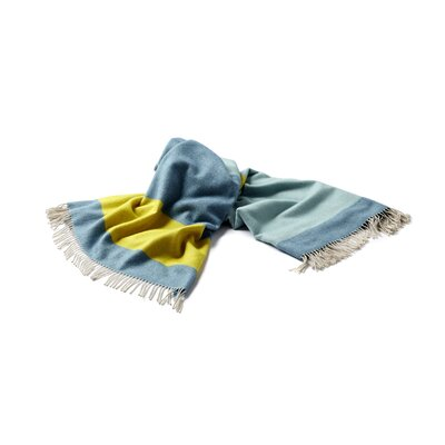 Lines Merino Wool Throw Color: Blue/Yellow