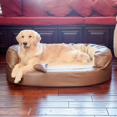 Luxury Orthopedic Memory Foam Leatherette Bolster Dog Bed Color: Bark / Toffee, Size: Xtra Large (52 L x 36 W)