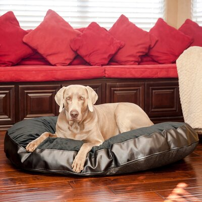 Plush Euro Style Pouf Memory Foam Dog Bed Color: Charcoal Leatherette / Licorice, Size: Medium (36 L x 26 W)