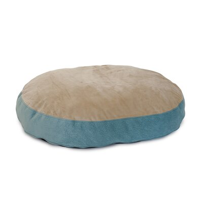 Donald Plush Euro Style Pouf Memory Foam Dog Bed Color: Teal / Toffee, Size: Large (46 L x 32 W)