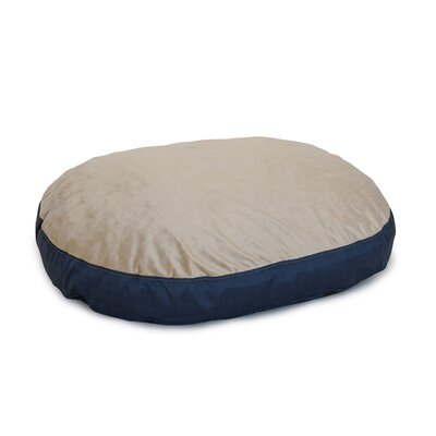 Plush Euro Style Pouf Memory Foam Dog Bed Color: Denim / Toffee, Size: Xtra Large (52 L x 36 W)