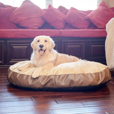 Plush Euro Style Pouf Memory Foam Dog Bed Color: Bark / Toffee, Size: Small (28 L x 20 W)