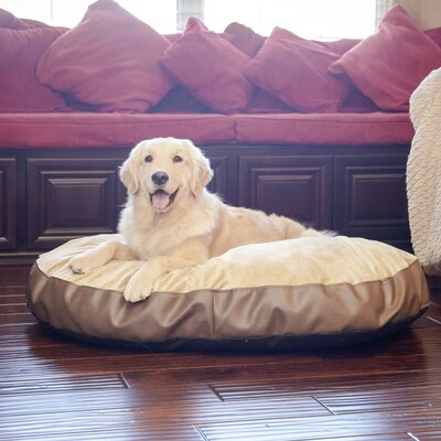 Plush Euro Style Pouf Memory Foam Dog Bed Color: Bark Leatherette / Toffee, Size: Large (46 L x 32 W)
