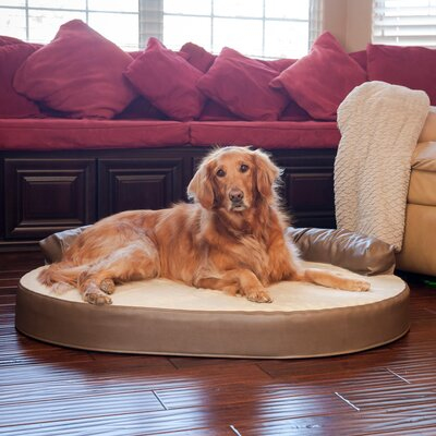 Orthopedic Memory Foam Leatherette Joint Relief Bolster Dog Bed Color: Bark / Toffee, Size: Large (46 L x 32 W)