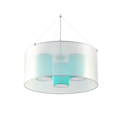 Three In One 3-Light Drum Pendant Shade Color: Turquoise