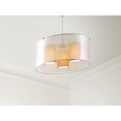 Three In One 3-Light Drum Pendant Shade Color: Orange