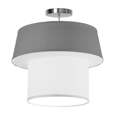 Clive 1-Light Drum Pendant Shade Color: Gunmetal, Size: 22 H x 24 W x 24 D
