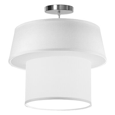 Clive 1-Light Drum Pendant Shade Color: White, Size: 16 H x 18 W x 18 D